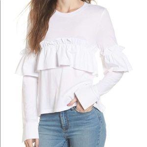 CUTE BP Ruffle Long Sleeve Tee Shirt White Small